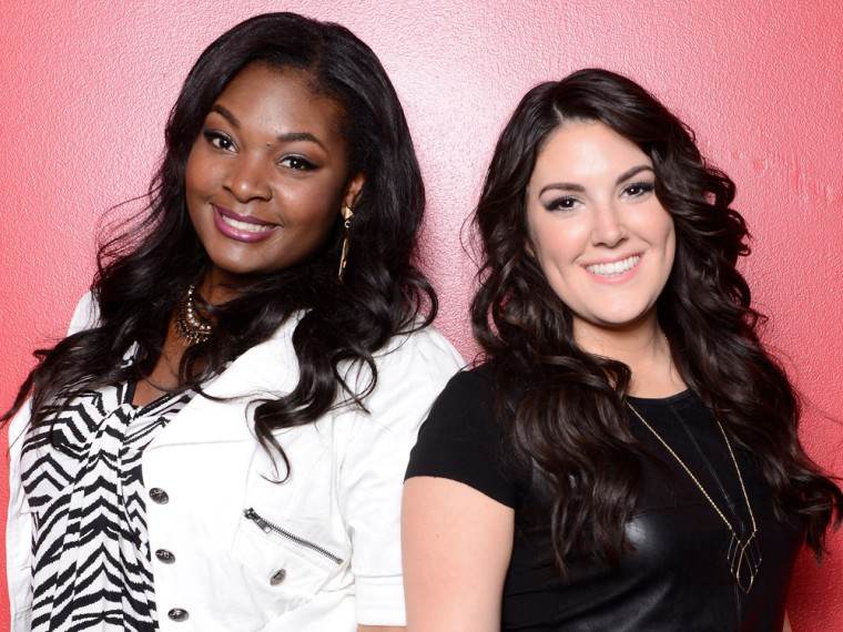 """HOLLYWOOD, CA - MAY 9: Top 2 contestants Candice Glover (L) and Kree Harrison backstage at FOX's """"American Idol"""" Season 12 Top 3 to 2 Live Elimination..."""
