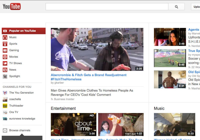 YouTube home screen.