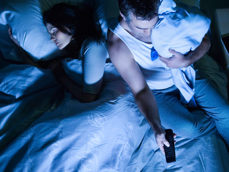 couple, bed, tv, sleep