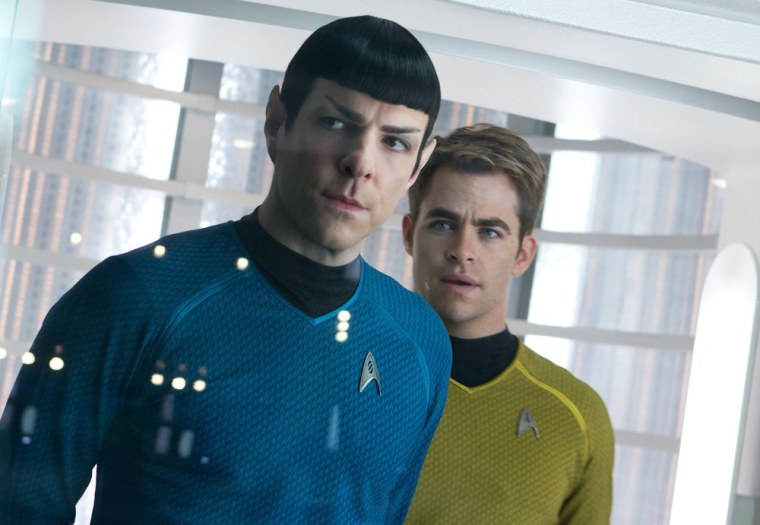 "Zachary Quinto as Spock and Chris Pine as Kirk in ""Star Trek Into Darkness."""
