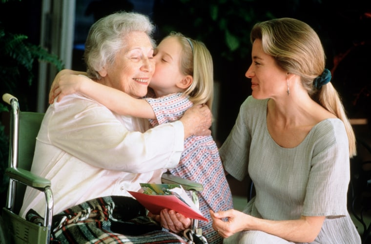 Image: Mother and child visit grandma. Stock image.