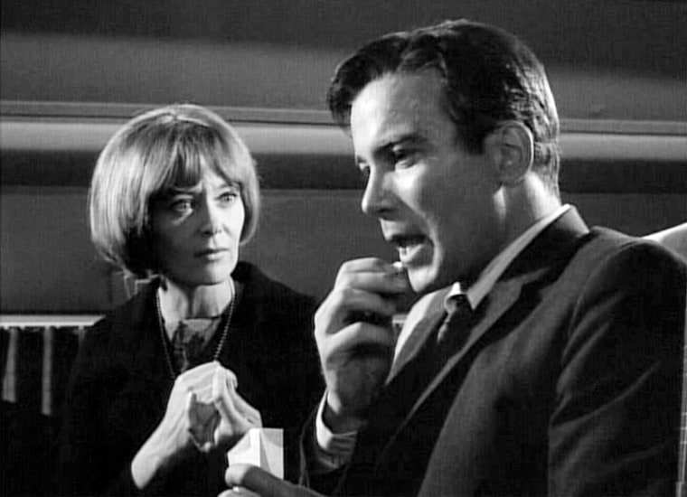 """Christine White and William Shatner in """"Nightmare At 20,000 Feet"""" in 1963."""