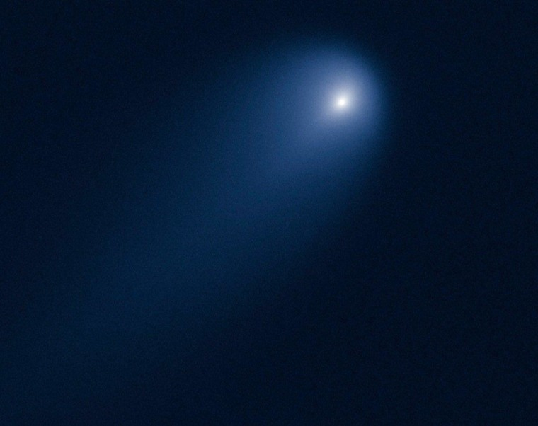 Comet ISON glows in a picture from the Hubble Space Telescope, captured in April.