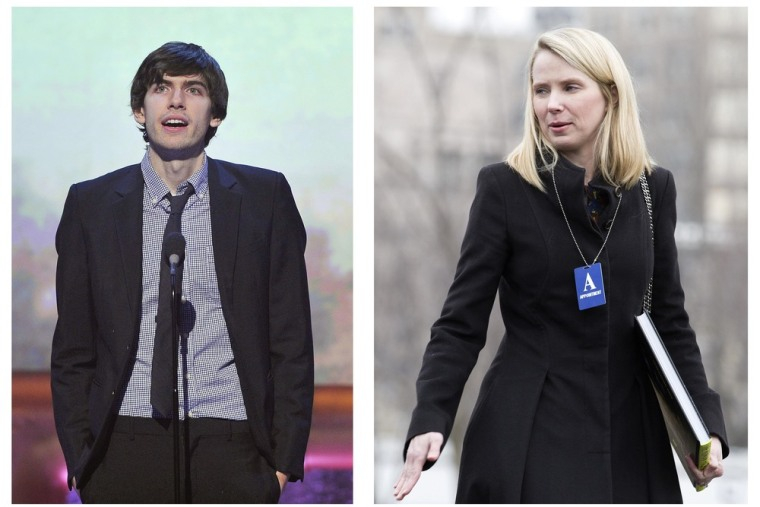A combination photo shows Tumblr CEO David Karp (L), in New York on May 21, 2012 and Marissa Mayer (R), President and CEO of Yahoo, in Washington on Fe...