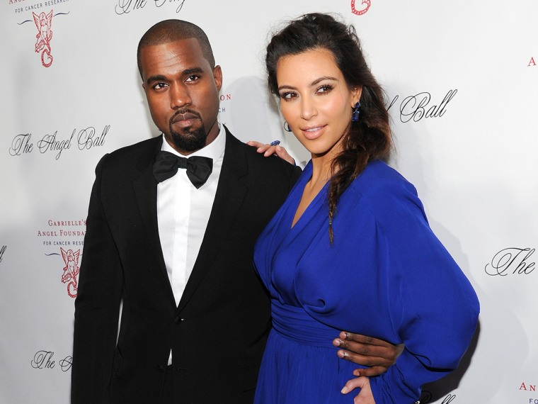 Singer Kanye West and girlfriend Kim Kardashian attend Gabrielle's Angel Foundation 2012 Angel Ball cancer research benefit at Cipriani Wall Street on...