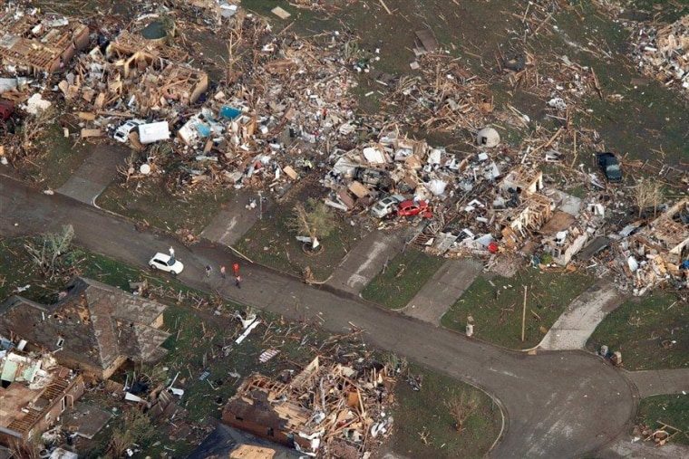 The path of devastation left behind by the preliminarily rated EF-4 tornado in Moore, Okla., on Monday.