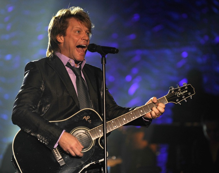 NEW YORK - JUNE 18:  Musician Jon Bon Jovi performs on stage during the 40th Annual Songwriters Hall of Fame Ceremony at The New York Marriott Marquis...