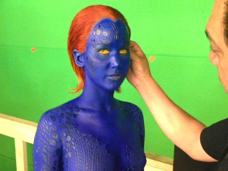 Bluer Than Blue Jennifer Lawrence Shows Some Skin In Upcoming X Men Movie