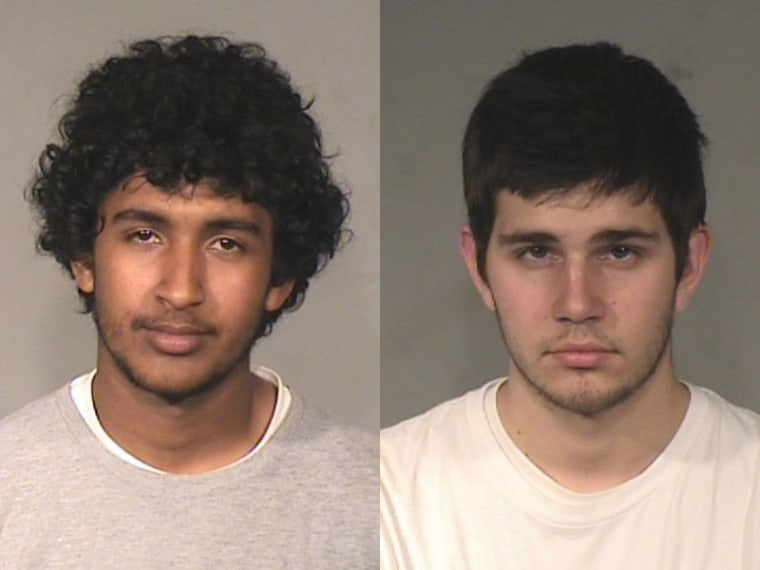 Fresno Police mugshots of Nathan Teklemariam and Carson Rinehart