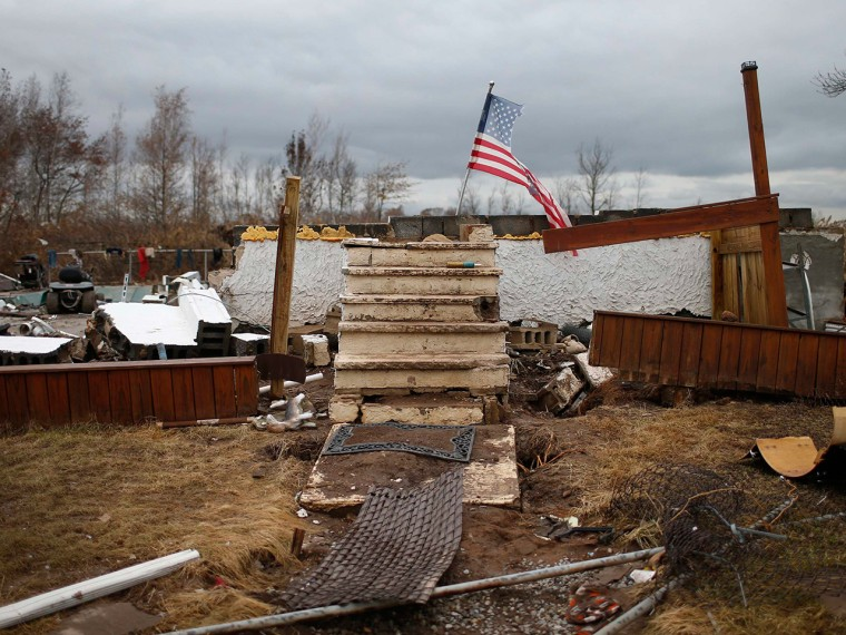 The remains of a home swept away by flooding from Superstorm Sandy on Staten Island in New York on Nov. 13, 2012.