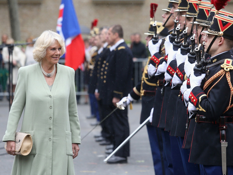 PARIS, FRANCE - MAY 28:  Camilla, Duchess of Cornwall inspects an honour guard at the  French Republican Guard headquarters on May 28, 20013 in Paris ...