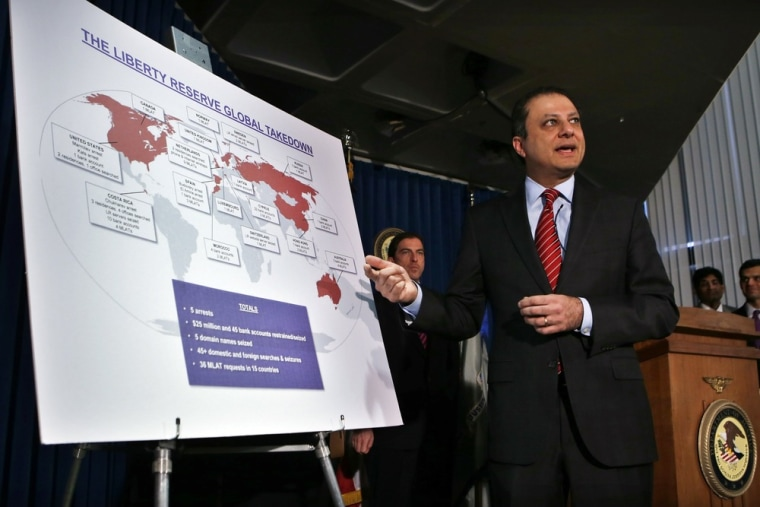 Preet Bharara, United States Attorney for the Southern District of New York, describes charges against Costa Rica-based Liberty Reserve, one of the worlds largest digital currency companies and seven of its principals and employees for allegedly running a $6 billion money laundering scheme at a news conference in New York, May 28, 2013.