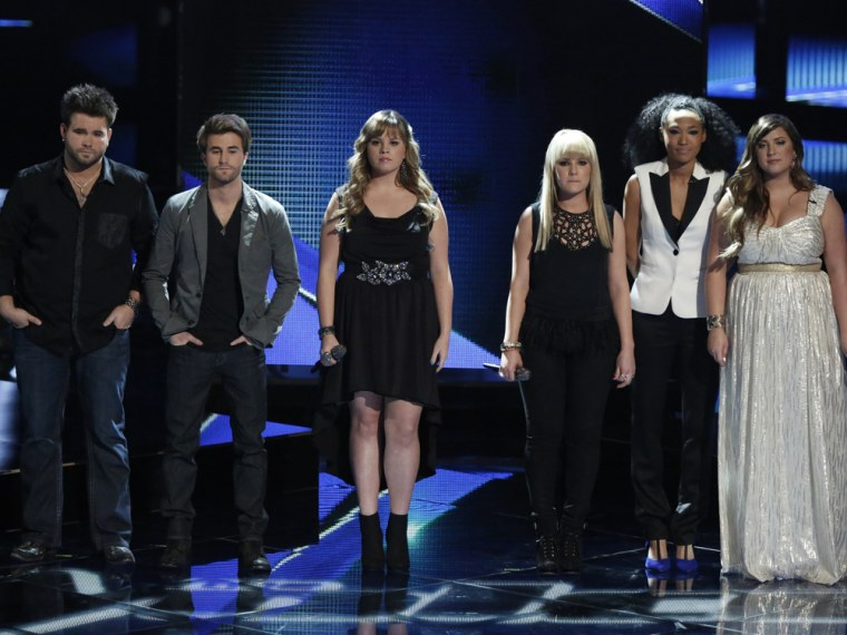 """THE VOICE -- Episode 416B """"Live Show"""" -- Pictured: (l-r) Zach Swon, Colton Swon of The Swon Brothers, Holly Tucker, Amber Carrington, Judith Hill, Sar..."""
