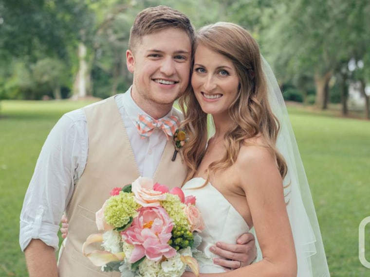 James Lowder and Katie Young let their friend add a dinosaur to their wedding photo.