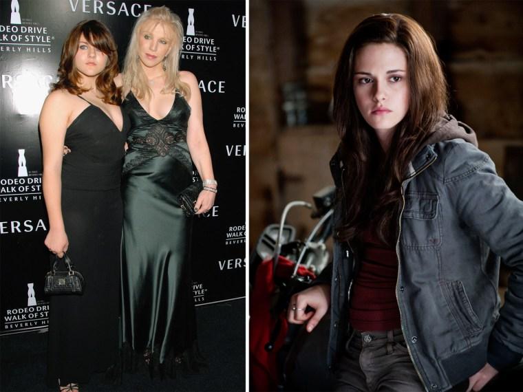 "Courtney Love and Frances Bean Cobain; Kristen Stewart as Bella in ""Twilight."""