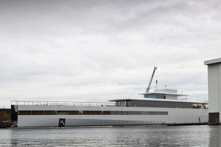 The superyacht built for Apple co-founder Steve Jobs is seen in a shipyard in Aalsmeer in this October 30, 2012 file photo.