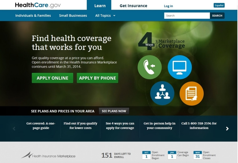 The home page for healthcare.gov is seen in computer screen shot.