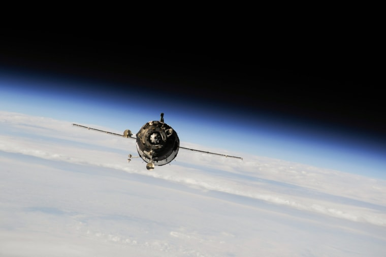 Soyuz spacecraft approaches the International Space Station