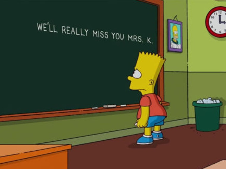 "Image: ""Simpsons"" message to Mrs. Krabappel"