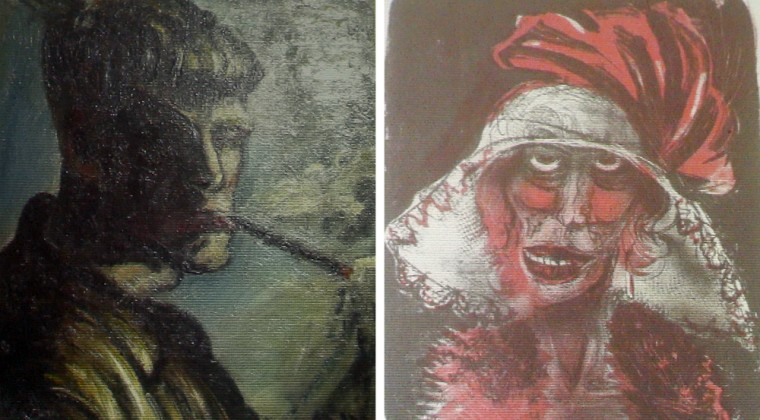 Two previously unregistered paintings, thought to be by German artist Otto Dix, are beamed onto a wall at a news conference in Augsburg, Tuesday.