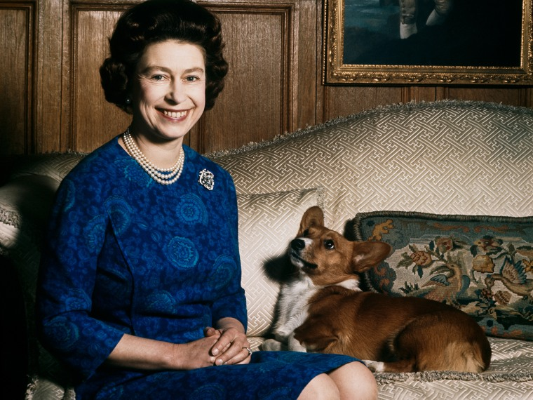 Image: Queen Elizabeth II is pictured with one of her many Corgis in 1970.