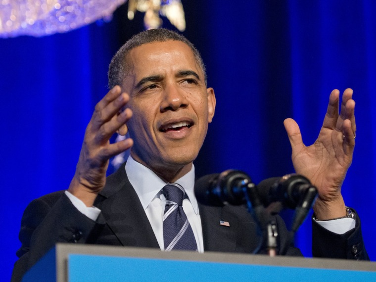 "WASHINGTON, DC - NOVEMBER 04:  US President Barack Obama delivers remarks at an Organizing for Action ""Obamacare Summit"" at the St. Regis Hotel on Nov..."