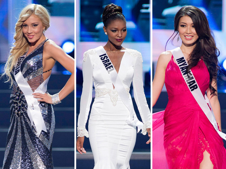 Miss Universe 2013 contestants Miss Bulgaria, Miss Israel and Miss Myanmar