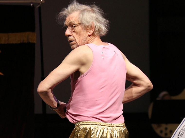 November 4, 2013: Sir Ian McKellen strips down to his underwear while performing a quick change on stage at the 14th Annual 'Only Make Believe' Gala at the Bernard B. Jacobs Theatre in New York City.