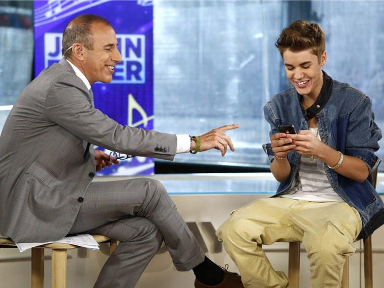 Matt Lauer had some help from very popular-on-Twitter-friend Justin Bieber.