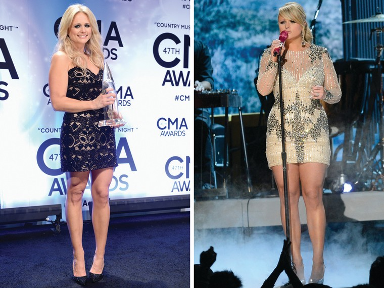 Miranda Lambert at the CMAs on Nov. 6, left, and at the Grammys in February.