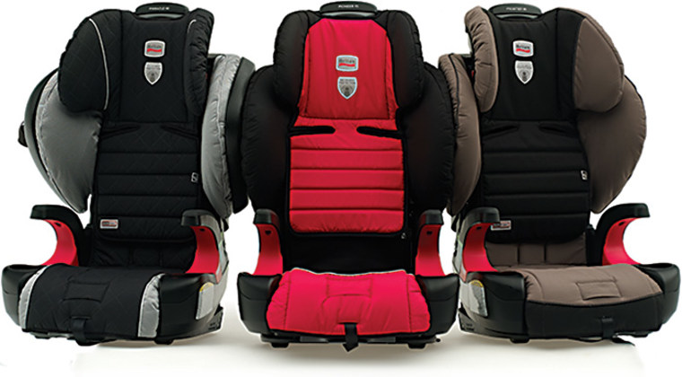 """Three new Britax highback models, the Pinnacle 90, Pioneer 70 and Frontier 90 (left to right), received a \""""check fit\"""" rating, which means the seats may provide a good fit in some vehicles but parents should make sure."""