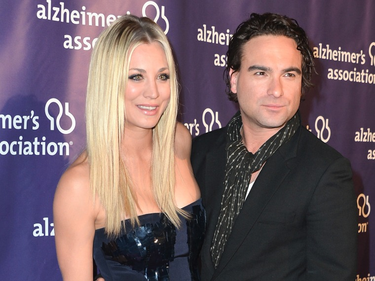 Kaley Cuoco and Johnny Galecki in March. Despite dating and breaking up in secret, the pair have remained close.