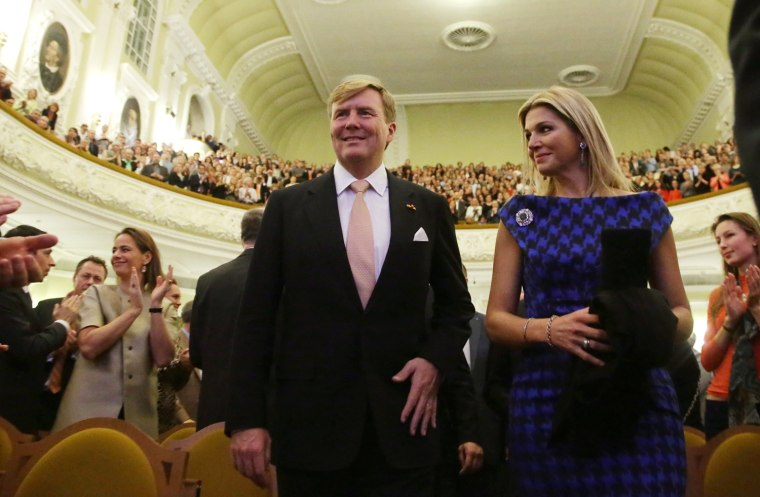 Dutch King Willem-Alexander and Queen Maxima enter the music hall as they attend a concert of the Royal Concertgebouw Orchestra at The Great Hall of Moscow Conservatory, in Moscow, Russia.