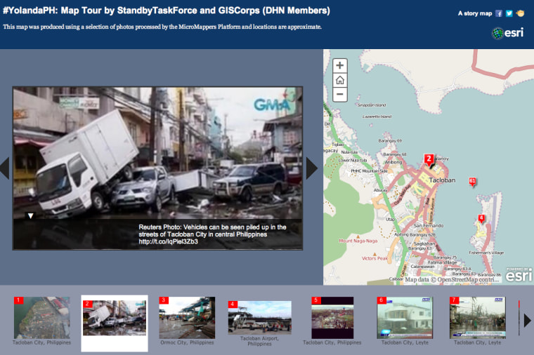 """Through MicroMappers ImageClicker, volunteers rate the level of damage they see in each image posted to social media. Those that are tagged as """"Mild"""" and """"Severe"""" damage are geolocated by members of the Standby Volunteer Task Force (SBTF) who have partnered with GISCorps and ESRI to create this live Crisis Map used by the United Nations."""