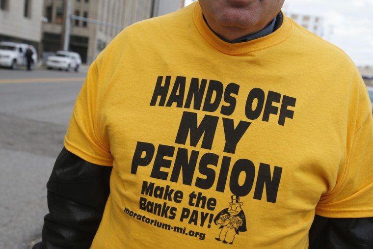 Make room, Detroit, you may be joined by Desert Hot Springs, Calif., on the bankruptcy bandwagon. City of Detroit pensioner David Sole wears a t-shirt...