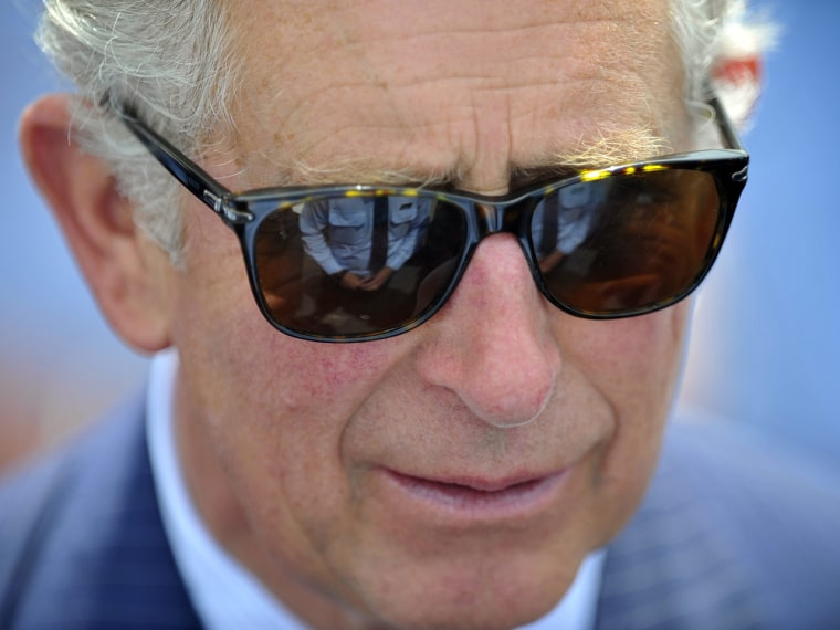 A file picture dated 09 November 2012 shows Britain's Prince Charles wearing sunglases during a meeting with members of the emergen...