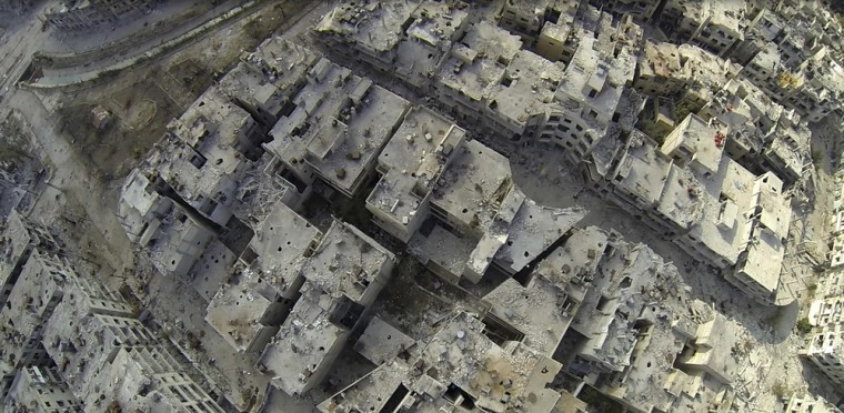 An undated picture taken from a camera attached to what rebels say was an unmanned aircraft used by forces loyal to Bashar al-Assad.