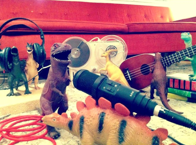 The dinosaurs form a band.