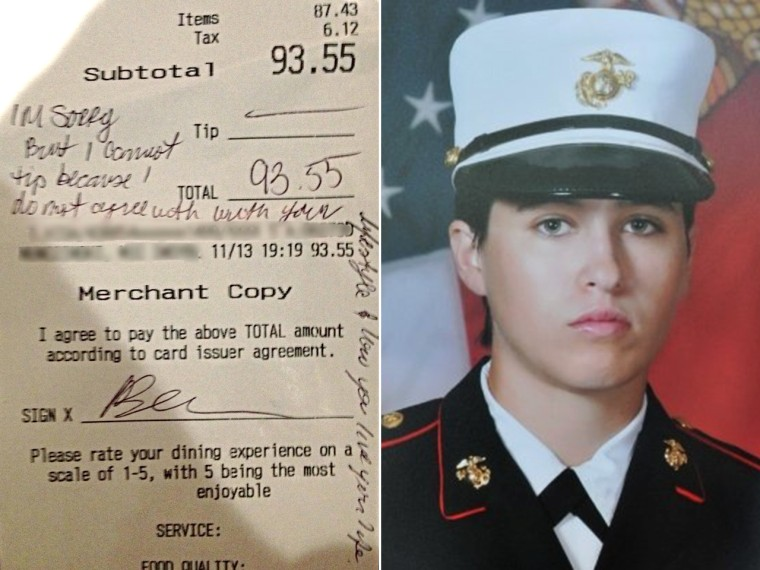 Gay waitress denied tip for gay 'lifestyle' gets flood of support