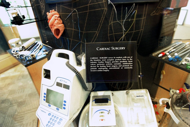 In this Aug. 16, 2005 file photo, products made for cardiac surgery are displayed at the Fridley, Minn., based Medtronic.