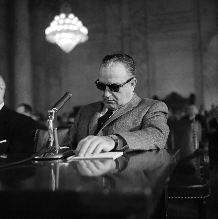 Carlos Marcello before the Senate Rackets Committee in March 1959.