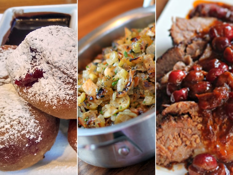 Cranberry sufganiyots, chicken sausage stuffing with matzo and brisket with cranberry sauce are just a few ways to celebrate Thanksgivukkah.