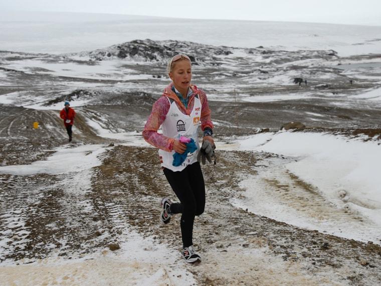 Winter Vinecki after the Antartica Marathon, March 30, 2013.