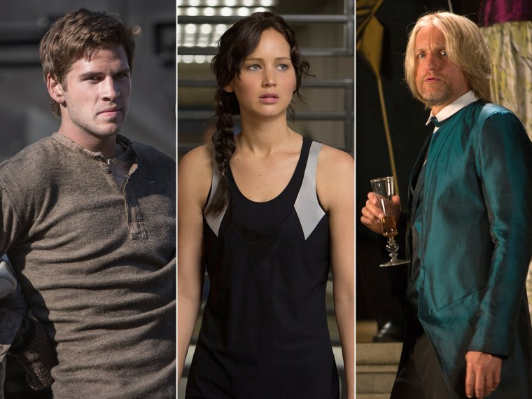 "Liam Hemsworth, Jennifer Lawrence and Woody Harrelson in ""Catching Fire."""