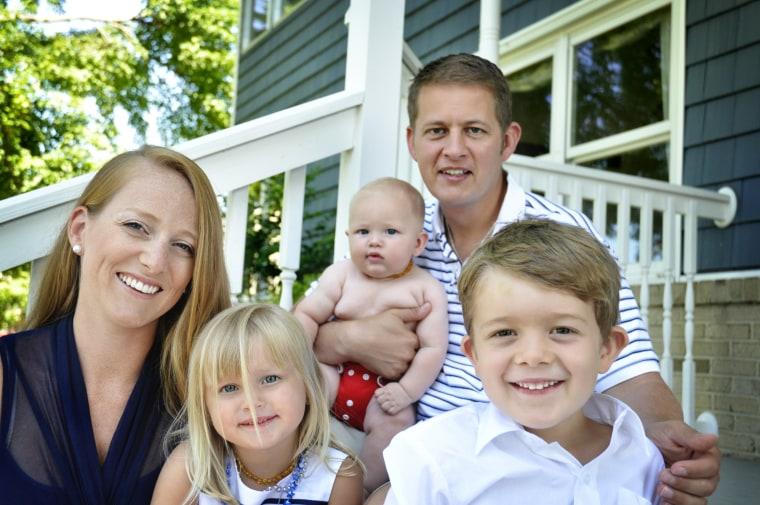 Rose Forrest and Steve Podwojski with kids Andrew, 6, Sophia, 4, and Joseph, 9 months.