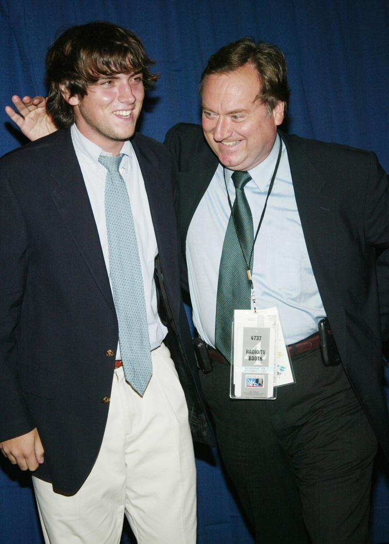 """NEW YORK - SEPTEMBER 1:  """"Meet The Press"""" Anchor Tim Russert and son Luke attend """"Live From New York Its Wednesday Night"""" at Cipriani's 42nd Street on..."""