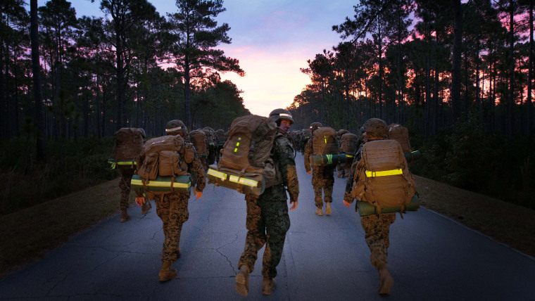 Marines with Delta Company, Infantry Training Battalion, ruck into the sunrise during a 20-kilometer hike at Camp Geiger, N.C., Oct. 28, 2013.