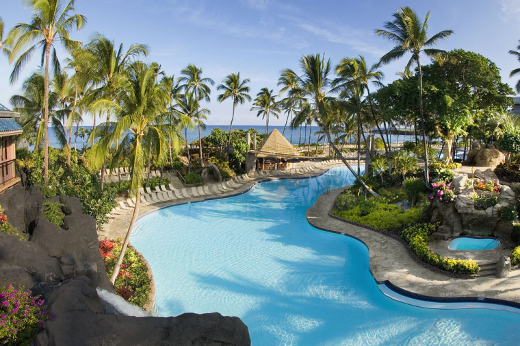 A pool at the Hilton Waikoloa Village hotel in Waikoloa, Hawaii.