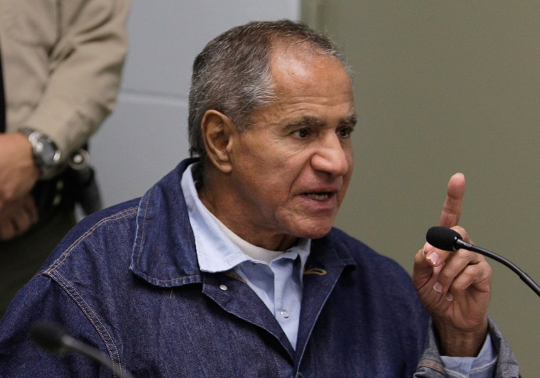 Sirhan Sirhan was convicted of assassinating Sen. Robert F. Kennedy in 1968. He is shown at a parole board hearing in 2011. Parole was denied.