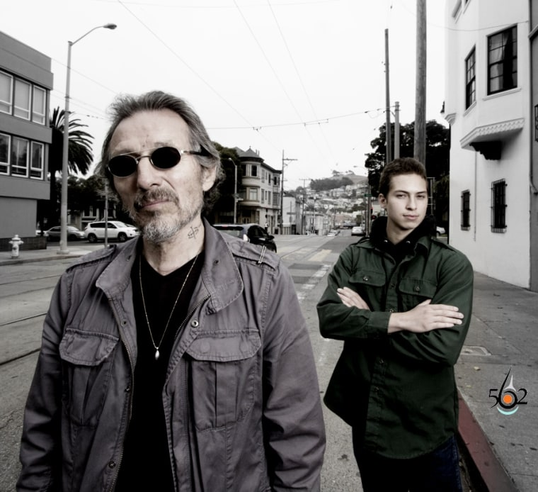 Native American activist and poet John Trudell, left, and Son Coup of the Santee Sioux Nation pose for a photo in San Francisco, Calif. in July, 2013.